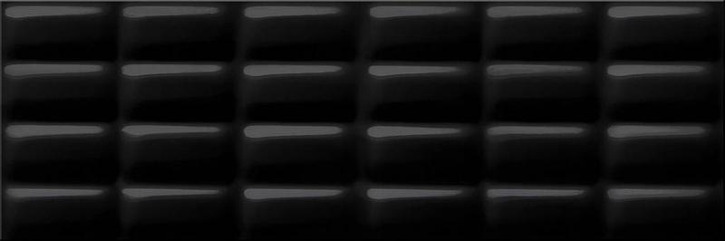 Керамическая плитка Meissen Pret a Porte Black Glossy Pillow Structure O-PRP-WTU232 настенная 25х75 см