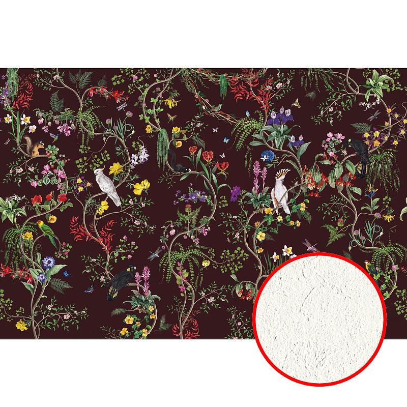 Фреска Ortograf Miracle 33876 Фактура филиграна FM-F Флизелин (4,5*3) Коричневый/Разноцветный, Птицы/Цветы