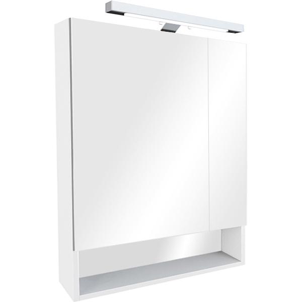 The Gap 70 БелыйМебель для ванной<br>Зеркальный шкаф Roca The Gap 70 ZRU9302749.<br><br><br>Зеркальный шкаф коллекции The Gap выполнен в современном дизайне и оснащен изящным направленным светильником. За распашными дверцами расположено два отделения, которые в сочетании с открытой полкой позволят оптимизировать пространство для хранения аксессуаров. Шкаф отлично впишется в ванную комнату в хай-тек или современном стиле.<br><br><br><br>Габариты изделия (ШxВxГ): 70x85x12,9 см.<br>2 распашные дверцы с механизмами плавного закрытия.<br>Светильник.<br>Материал корпуса: влагостойкая ЛДСП.<br>Материал фасада: влагостойкая МДФ, стекло.<br>Монтаж подвесной.<br><br><br>Объем поставки: шкаф зеркальный, светильник, крепления.<br>