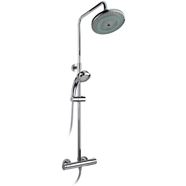 Termo SX-1050 Color ХромДушевые системы<br>Душевая система Timo Thermo SX-1050 Color с круглым верхним душем, с двухвентильным смесителем и термостатом. Решение для ванной в современном стиле.<br><br><br><br>Душевая система сделана из латуни класса А.<br>Покрытие: глянцевый хром.<br><br><br><br><br>Смеситель:<br><br>Управление: двухвентильное.<br>Керамические кран-буксы с углом поворота: 180°<br><br><br><br><br>Душевая система:<br><br>Материал лейки: высококачественный пластик.<br>Круглый тропический верхний душ.<br>Верхний душ: светодиодная подсветка.<br>Круглый верхний душ диаметром: 20 см.<br>Длина кронштейна верхнего душа: 33,2 см.<br>Однорежимный ручной душ.<br>Угол наклона верхней лейки регулируется до 35° во все стороны.<br>2 режима: переключение верхний душ/лейка.<br>Регулируемая штанга высотой: 80-130 см.<br><br><br>