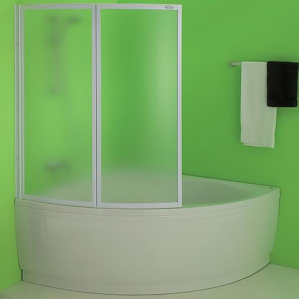 Quat TP 105 БелаяДушевые ограждения<br>Шторка на ванну Kolpa San Sole TP 105.<br>С двумя складными секциями.<br>Размер: 105x140 см.<br>Алюминиевый профиль белого цвета.<br>Матовый витраж из полистирола - прочного прозрачного пластика, безопасного в эксплуатации.<br>Двухлепестковый уплотнитель обеспечивает герметичность.<br>