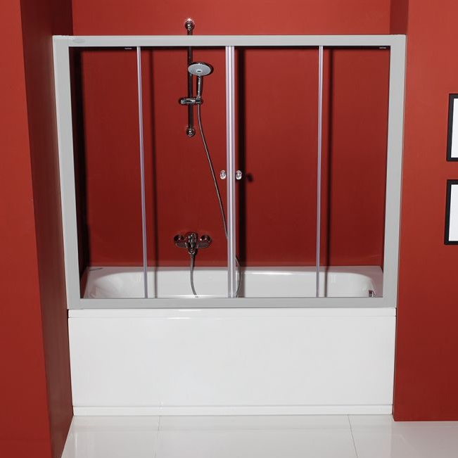 Orion TV/4D 170 ХромДушевые ограждения<br>Шторка для ванны Kolpa San Orion TV/4D 170.<br>Состоит из двух фиксированных секций и двух раздвижных дверей.<br>Размер: 170x140 см.<br>Алюминиевый профиль цвета хром.<br>Безопасное закаленное стекло толщиной 6 мм.<br>Двухлепестковый уплотнитель обеспечивает герметичность.<br>