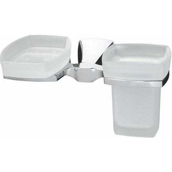 Стакан для зубных щеток с мыльницей WasserKRAFT Wern K-2526 Хром стакан и мыльница wasserkraft wern k 2526