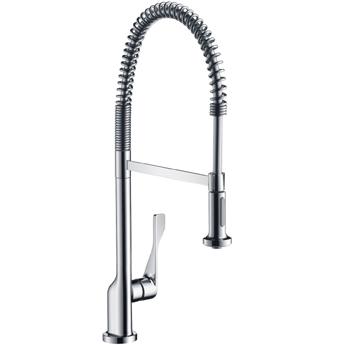 Citterio 39840000 ХромСмесители<br>Смеситель для кухни Axor Citterio 39840000, однорычажный. Полупрофессиональный, поворотный излив на 360°, выдвижной душ, обычная и душевая струя, керамический узел смешивания, расход воды 9,5 л/мин, аэратор QuickClean, защита от обратного тока воды. Подходит для работы с проточным водонагревателем.<br>