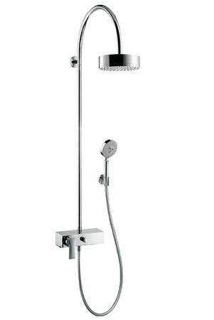 Citterio 39620000 ХромДушевые системы<br>Душевая система Axor Citterio Showerpipe 39620000. В набор входят: смеситель однорычажный, для настенного монтажа, с переключателем, верхний душ, ручной душ, шланг 1,60 м, держатель душа, функция очистки Rubit, штихмас 150 ± 16 мм.<br>