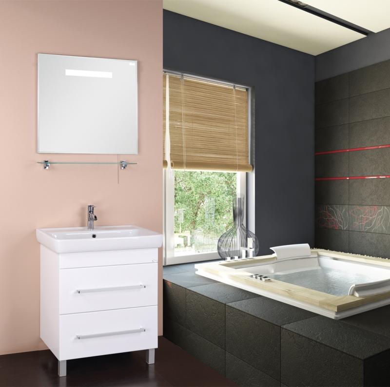 Олимп 60 БелаяМебель для ванной<br>Тумба под раковину Onika Олимп 106039 шириной 60 см.<br>Превосходно сочетается в интерьере любой ванной комнаты в стилистике современного дизайна. Предназначена для использования в условиях повышенной влажности.<br><br>Цвет: белый.<br>Габариты корпуса тумбы (ШхВхГ): 55,5 х 83 х 44 см.<br>Тумба выполнена из влагостойкой МДФ.<br>Два вместительных выдвижных ящика.<br>Фурнитура: доводчики с механизмом плавного закрывания и хромированные оригинальные ручки.<br>Ножки регулируемые: передние из металла цвета хром, задние из пластика.<br>Установка напольная.<br>В комплекте поставки: тумба.<br><br>