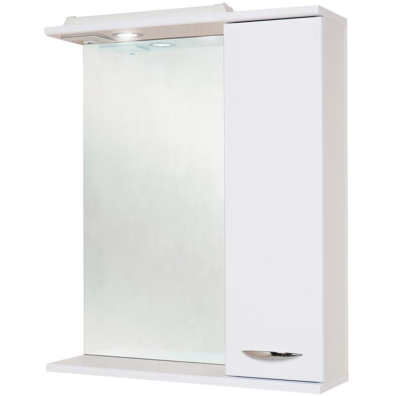 Ника 60.01 Белый, правыйМебель для ванной<br>Зеркальный шкаф 206016 Onika Ника 60.01 с подсветкой, комплектация: фурнитура металл хром, блок розетка-выключатель, трансформатор, 1 светильник.<br>