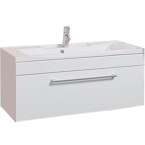 Мадрид 100 М  Белая глянцеваяМебель для ванной<br>Подвесная тумба под раковину Акватон Мадрид 100 М 1A126901MA010.<br>Лаконичная и стильная модель с одним выдвижным ящиком.<br>Особенности: <br>Со встроенной системой плавного закрывания. <br>Противоскользящий коврик на дне ящика. <br>Материал корпуса: ДСП с ламинированным покрытием. Этот материал обладает повышенной влагостойкостью и сопротивляемостью износу. Материал фасандых деталей: МДФ с пятислойной покраской.<br>В комплекте поставки: тумба, сифон.<br>