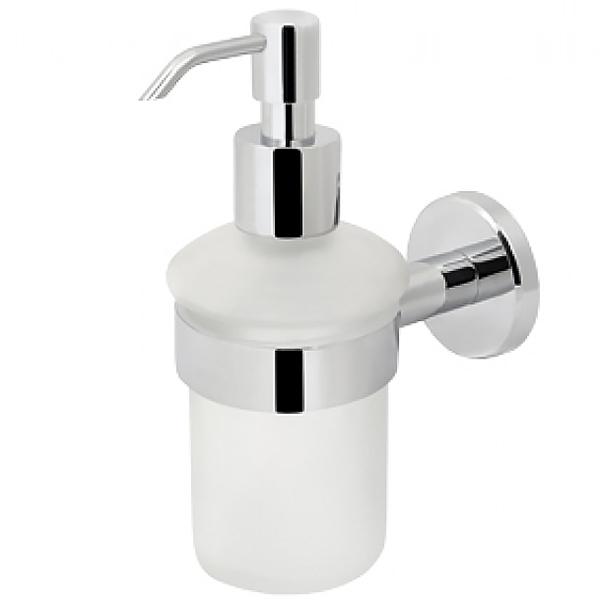 Sense A7536900  ХромАксессуары для ванной<br>Стеклянный диспенсер для жидкого мыла с настенным держателем AM PM Sense A7536900. В основе дизайна лежит форма круга. Силиконовые прокладки в держателе для стакана делают использование еще комфортнее.<br>