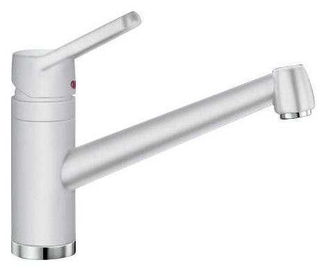 Actis 512897 БелыйСмесители<br>Blanko Actis 512897. Однорычажный смеситель для кухни. Сочетает хромированную поверхность и инновационный материал Silgranit, цвет белый, рычаг переключения расположен вверху над изливом. Керамический картридж. Гибкая подводка стандарта 3/8.  Допустимая толщина столешницы: 45 мм. Длина излива: 195 мм. Высота излива: 126 мм. Вращение излива на 360 градусов. Стабилизирующая пластина для увеличения устойчивости смесителя.<br>