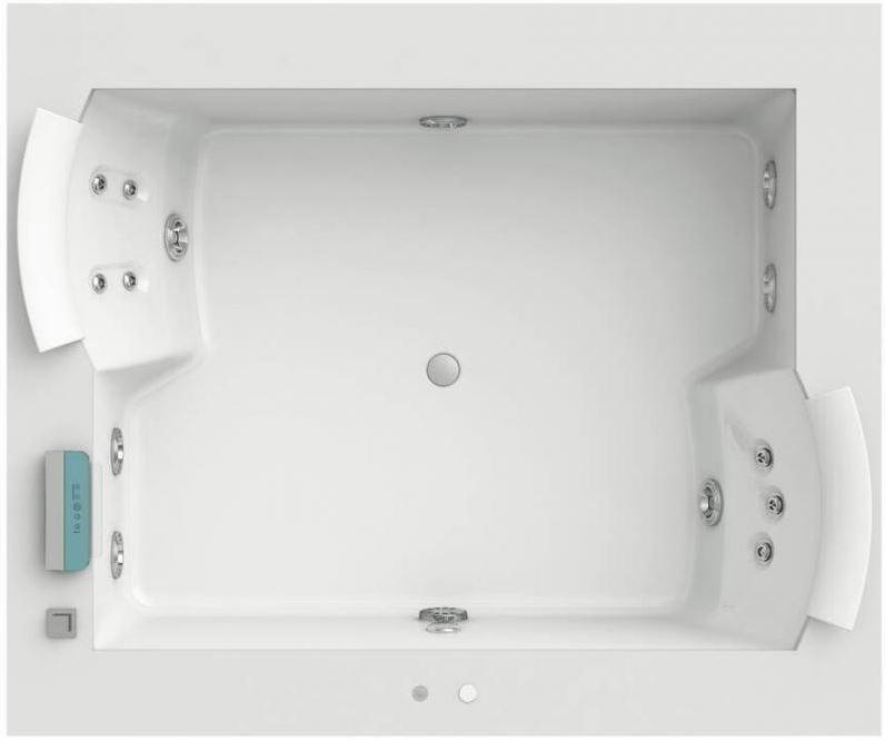 Aura Plus 180x150 9F43-337A Top ВенгеВанны<br>Ванна Jacuzzi Aura Plus 180x150 9F43-337A в комплекте со смесителем. В комплекте: функции дезинфекции, подсветки, нагревания воды, классический массаж (6 форсунок), спинной гидромассаж с семью вращающимися форсунками. Отделка бортика – венге.<br>