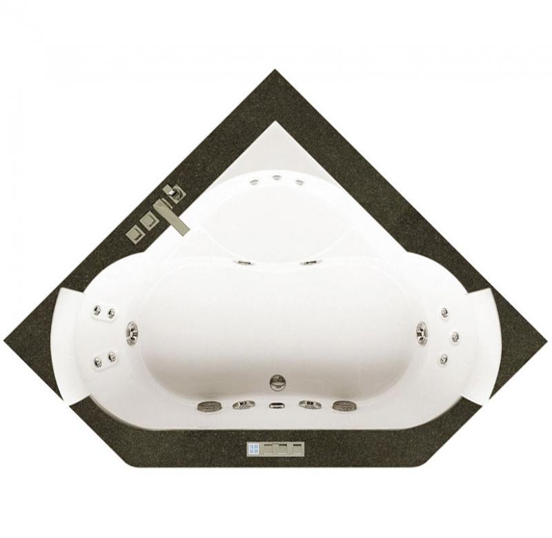 Aura Corner 160x160 9F43-483A ВенгеВанны<br>Ванна Jacuzzi Aura Corner 160x160 в комплекте со смесителем. В данной комплектации включены функции: дезинфекции, подсветки, нагревания воды, классический массаж (5 форсунок), спиной гидромассаж с вращающимися форсунками (3 штуки).  Отделка бортика – венге. Все дополнительные комплектующие приобретаются отдельно.<br>