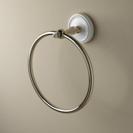 Полотенцедержатель Devon&Devon Dorothy DOR407OT Белый/золото кольцо для полотенец светлое золото белый devon