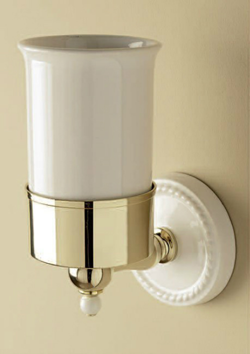 Dorothy DOR403OT Белый/золотоАксессуары для ванной<br>Стакан подвесной DEVON&amp;DEVON Dorothy. Цвет белый/золото.<br>