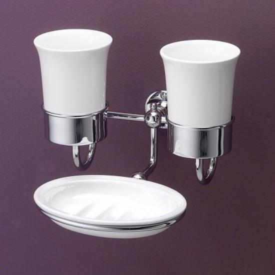 First Class DD33055CR Белый/хромАксессуары для ванной<br>Комплект два стакана и мыльница с настенной подставкой Devon&amp;Devon First Class .<br>