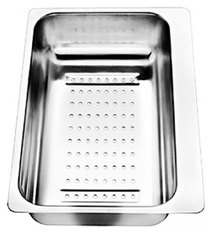 217796 хромКухонные мойки<br>Коландер из нержавеющей стали Blanco 217796. Коландер способен значительно упростить размораживание небольших продуктов, сушку столовых приборов, чистку овощей или мытье фруктов, применим в качестве дуршлага.<br>