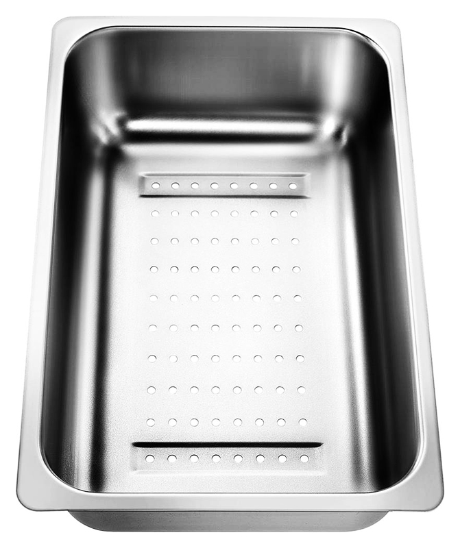 220736 хромКухонные мойки<br>Коландер из нержавеющей стали Blanco 220736. Коландер способен значительно упростить размораживание небольших продуктов, сушку столовых приборов, чистку овощей или мытье фруктов, также применим в качестве дуршлага.<br>