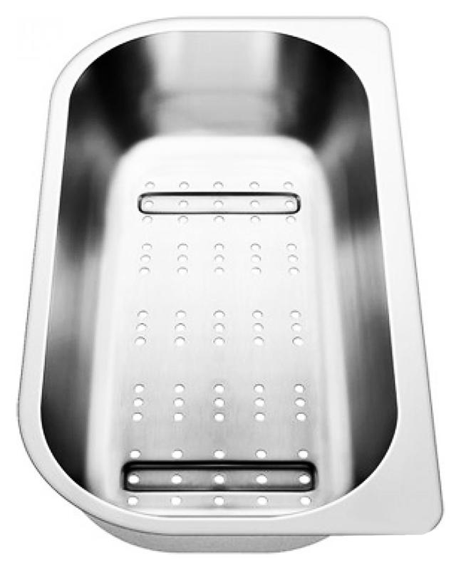 221132 хромКухонные мойки<br>Коландер из нержавеющей стали Blanco 221132. Коландер способен значительно упростить размораживание небольших продуктов, сушку столовых приборов, чистку овощей или мытье фруктов, применим в качестве дуршлага.<br>