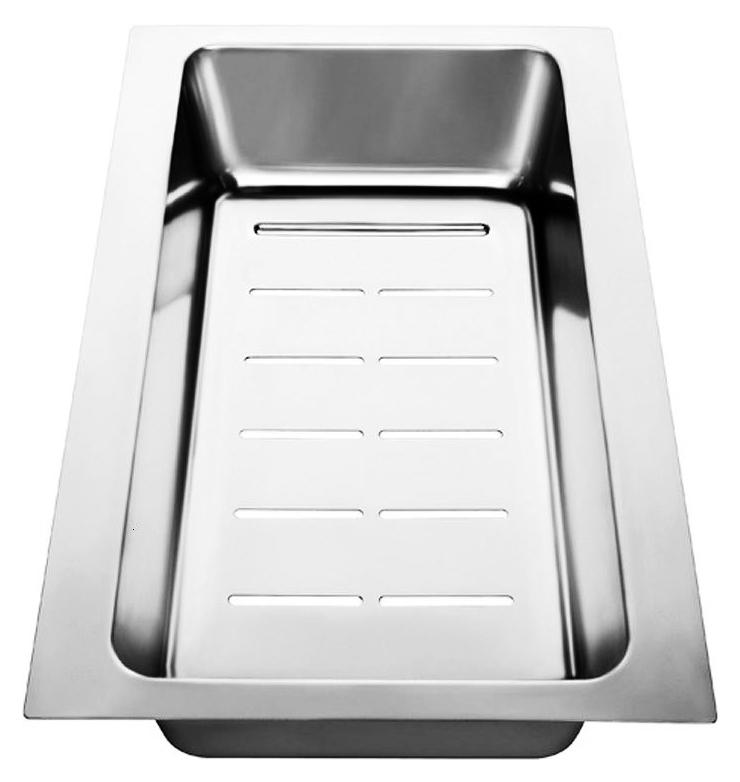 225046 хромКухонные мойки<br>Коландер из нержавеющей стали Blanco 225046. Коландер способен значительно упростить размораживание небольших продуктов, сушку столовых приборов, чистку овощей или мытье фруктов, также может использоваться в качестве дуршлага. Подходит для моек Blanco серии Axia II. Цена указана за коландер. Все остальное приобретается дополнительно.<br>