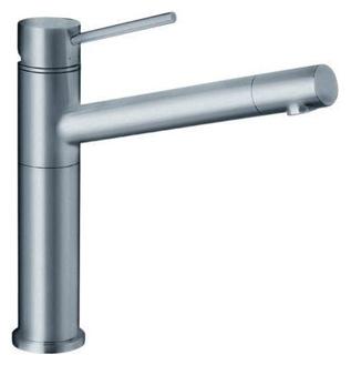 Alta 512321 Нержавеющая стальСмесители<br>Blanko Alta 512319. Однорычажный смеситель для кухни. Цвет нержавеющая сталь, рычаг переключения расположен вверху над изливом, выдвижной излив. Керамический картридж. Гибкая подводка стандарта 3/8,  Допустимая толщина столешницы: 45 мм. Длина излива: 216,5 мм. Высота излива: 206 мм. Вращение излива на 360 градусов. Стабилизирующая пластина для увеличения устойчивости смесителя. Носик излива поворачивается вокруг своей оси,что облегчает наполнение бутылок и ваз.<br>