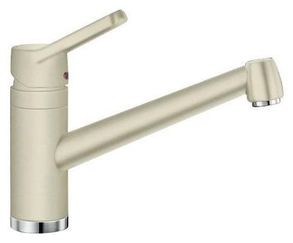 Actis 512899 ЖасминСмесители<br>Blanko Actis 512899. Однорычажный смеситель для кухни. Сочетает хромированную поверхность и инновационный материал Silgranit, цвет жасмин, рычаг переключения расположен вверху над изливом. Керамический картридж. Гибкая подводка стандарта 3/8.  Допустимая толщина столешницы: 45 мм. Длина излива: 195 мм. Высота излива: 126 мм. Вращение излива на 360 градусов. Стабилизирующая пластина для увеличения устойчивости смесителя.<br>