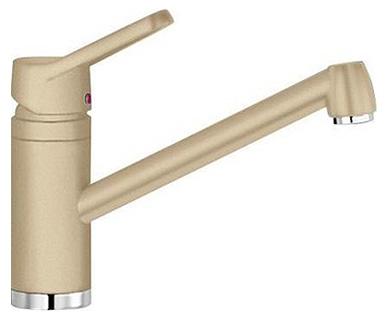Actis 513985 ШампаньСмесители<br>Blanko Actis 512919. Однорычажный смеситель для кухни. Сочетает хромированную поверхность и инновационный материал Silgranit, цвет шампань, рычаг переключения расположен вверху над изливом. Керамический картридж. Гибкая подводка стандарта 3/8.  Допустимая толщина столешницы: 42 мм. Длина излива: 195 мм. Высота излива: 126 мм. Вращение излива на 360 градусов. Стабилизирующая пластина для увеличения устойчивости смесителя.<br>