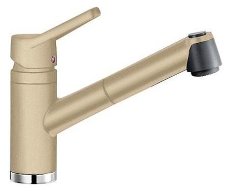 Actis 513987 ШампаньСмесители<br>Blanko Actis 513987. Однорычажный смеситель для кухни с выдвижным изливом. Сочетает хромированную поверхность и инновационный материал Silgranit, цвет шампань, рычаг переключения расположен вверху над изливом. Керамический картридж. Гибкая подводка стандарта 3/8.  Допустимая толщина столешницы: 42 мм. Длина излива: 191 мм. Высота излива: 124 мм. Вращение излива на 110 градусов. Стабилизирующая пластина для увеличения устойчивости смесителя.<br>