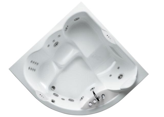 Maxima 165x165 9F43-788A БелыйВанны<br>Ванна Jacuzzi Aura Plus 180x150 в комплекте со смесителем. В данной комплектации включены функции: дезинфекции, подсветки, классический массаж (6 форсунок), спиной гидромассаж с вращающимися форсунками (13 штук). У данной модели 2 сиденья и 1 шезлонг. Все дополнительные комплектующие приобретаются отдельно.<br>