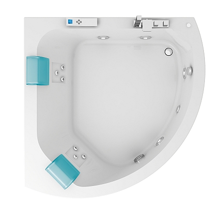 Aquasoul Corner 155x155 9443-699A БелыйВанны<br>Ванна Jacuzzi Aquasoul Corner 155x155. в комплекте со смесителем и фронтальной панелью. В данной комплектации включены функции: дезинфекции, подсветки, классический массаж (4 форсунки), спиной гидромассаж с вращающимися форсунками (6 штук). Все дополнительные комплектующие приобретаются отдельно.<br>