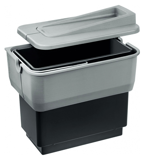 Singolo 512880 серыйКухонные мойки<br>Контейнер для мусора Blanco Singolo 512880 представляет собой полностью собранную систему из пластика с одним 14-литровым ведром, включая установочный комплект. Контейнер для мусора легко вынимается, открывается с помощью двери шкафа. На крышке, закрывающей контейнер, могут храниться легкие кухонные принадлежности. Легко крепится.<br>