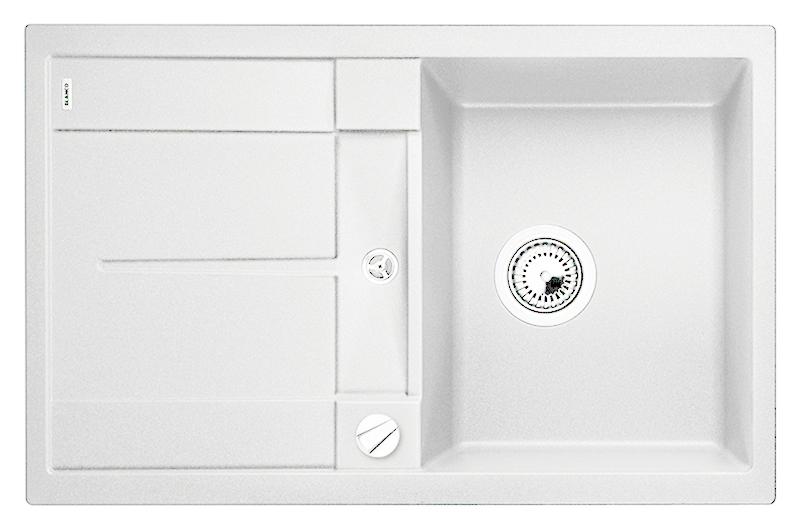 Metra 45 S 513028 белаяКухонные мойки<br>Кухонная мойка Blanco Metra 45 S 513028 врезная, 1 чаша с крылом. Крыло оснащено интегрированным сливом. Для установки в шкаф шириной от 45 см. Возможна установка под столешницу. Нужно учитывать ширину пристеночного канта в случае установки мойки возле стены или пенала. Цена указана за мойку. Все остальное приобретается дополнительно.<br>