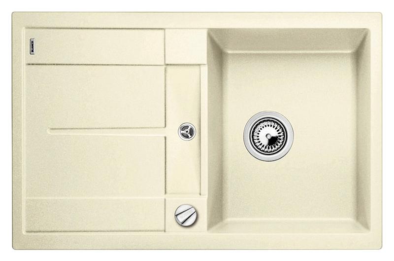 Metra 45 S 513029 жасминКухонные мойки<br>Кухонная мойка Blanco Metra 45 S 513029 врезная, 1 чаша с крылом. Крыло оснащено интегрированным сливом. Для установки в шкаф шириной от 45 см. Возможна установка под столешницу. Нужно учитывать ширину пристеночного канта в случае установки мойки возле стены или пенала.<br>