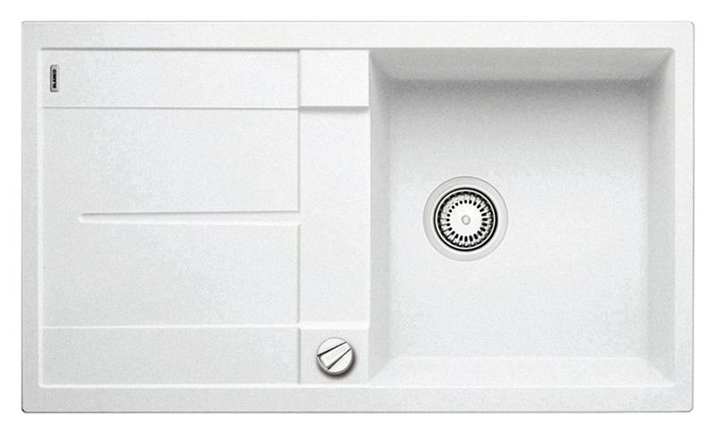 Metra 5 S 513037 белаяКухонные мойки<br>Кухонная мойка Blanco Metra 5 S 513037 врезная, 1 чаша с крылом. Очень просторная и глубокая чаша для мытья посуды больших размеров. Для установки в шкаф шириной от 50 см. Возможна установка под столешницу. Нужно учитывать ширину пристеночного канта в случае установки мойки возле стены или пенала. Цена указана за мойку. Все остальное приобретается дополнительно.<br>