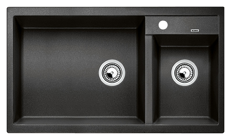 Metra 9 513273 антрацитКухонные мойки<br>Кухонная мойка Blanco Metra 9 513273 врезная. Необычайно большая основная чаша и просторная дополнительная чаша подходят для мытья посуды больших размеров. На широкой площадке под смеситель возможна установка дополнительных аксессуаров. Для установки в шкаф шириной от 90 см. Возможна установка под столешницу. Нужно учитывать ширину пристеночного канта в случае установки мойки возле стены или пенала. Цена указана за мойку. Все остальное приобретается дополнительно.<br>