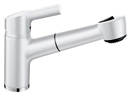 Elipso II 514854 БелыйСмесители<br>Blanko Linus 514854. Однорычажный смеситель для кухни с выдвижным изливом. Сочетает хромированную поверхность и инновационный материал Silgranit, цвет белый. Керамический картридж. Гибкая подводка стандарта 3/8. Допустимая толщина столешницы: 63 мм. Длина излива: 217 мм. Высота излива: 136 мм. Вращение излива на 115 градусов. Два режима излива: струя/душ. Защита от обратного потока. Стабилизирующая пластина для увеличения устойчивости смесителя.<br>