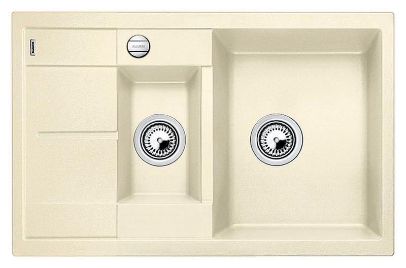 Metra 6 S Compact 513469 жасминКухонные мойки<br>Кухонная мойка Blanco Metra 6 S Compact 513469 врезная. Превосходная вместимость чаш при небольших размерах мойки, дополнительная чаша придает мойке особый комфорт в работе. Возможна установка под столешницу. Для установки в шкаф шириной от 60 см. Нужно учитывать ширину пристенного канта в случае установки мойки возле стены или пенала. Цена указана за мойку. Все остальное приобретается дополнительно.<br>