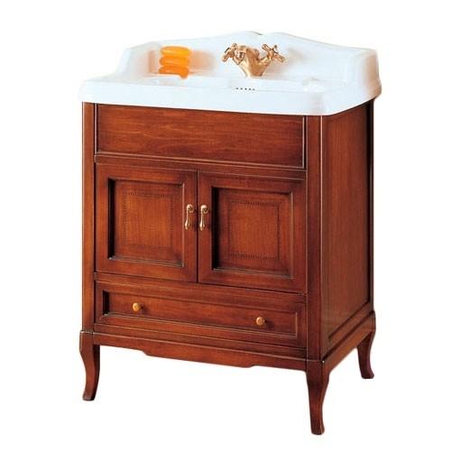 Victoria HPL70PAT Белый с патиной/бронзаМебель для ванной<br>База под раковину Labor Legno Victoria с двумя дверцами и одним выдвижным ящиком. Материал массив дерева, фурнитура бронза.<br>