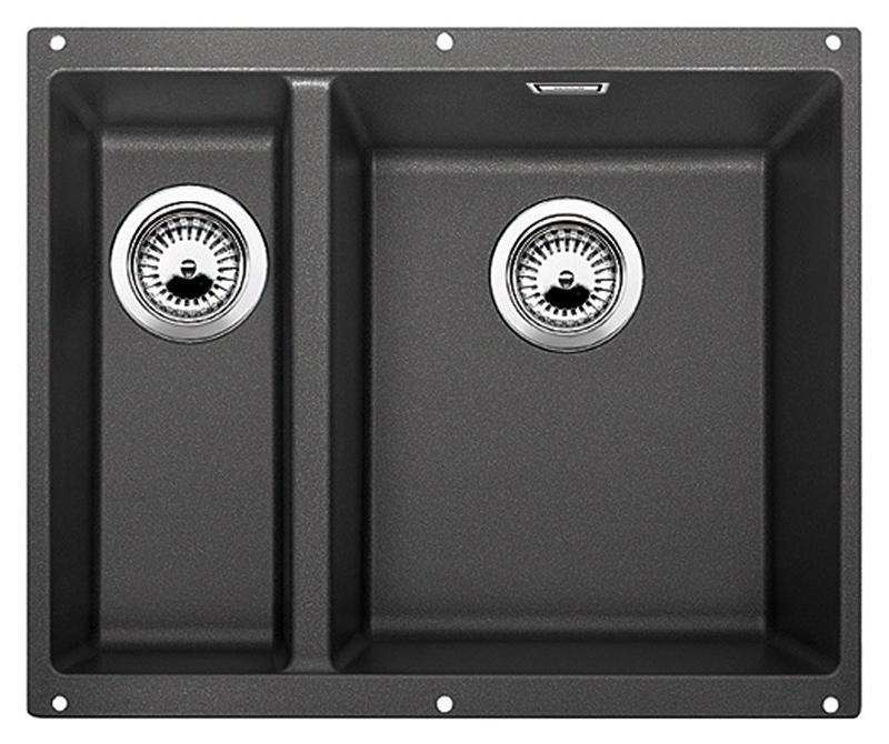 Subline 340/160-U 520402 антрацит, праваяКухонные мойки<br>Кухонная мойка Blanco Subline 340/160-U 520402, большая чаша справа, маленькая слева. Максимальный объем чаш, благодаря современным технологиям производства и установки. Элегантный и гигиеничный перелив C-overflow®.  Для установки в шкаф шириной от 60 см. Установка под столешницу в один уровень. Цена указана за мойку. Все остальное приобретается дополнительно.<br>