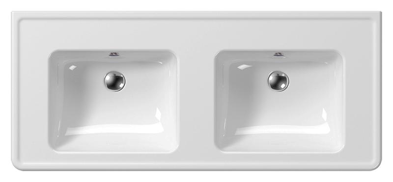 Classic 125 8725111 белая глянцеваяРаковины<br>Раковина подвесная GSI Classic 125 8725111 двойная. Каждая раковина с отверстием для слива-перелива.<br>