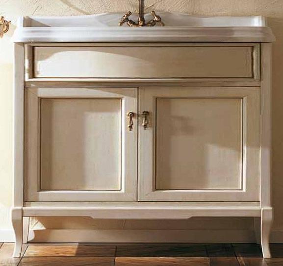 Victoria HPL90PAT Белый с патиной/бронзаМебель для ванной<br>Напольная база под раковину Labor Legno Victoria с двумя инкрустированными дверками, материал дерево. Цвет Белый с патиной, фурнитура Бронза.<br>