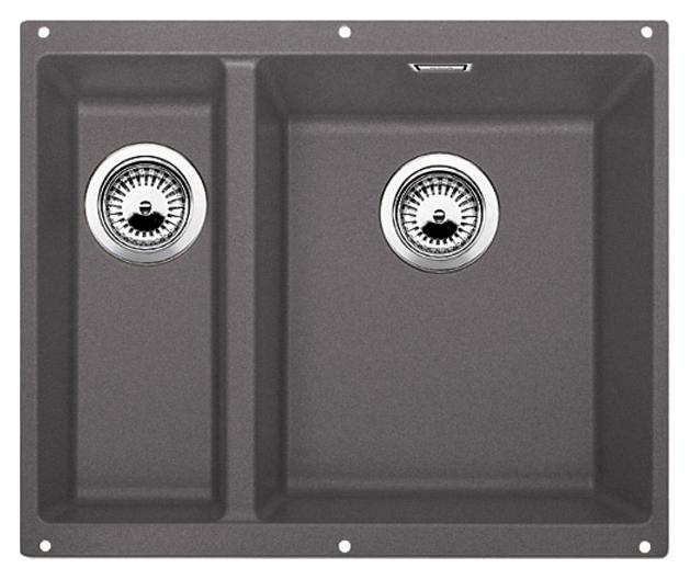 Subline 340/160-U 520403 темная скала, праваяКухонные мойки<br>Кухонная мойка Blanco Subline 340/160-U 520403, большая чаша справа, маленькая слева. Максимальный объем чаш, благодаря современным технологиям производства и установки. Элегантный и гигиеничный перелив C-overflow®.  Для установки в шкаф шириной от 60 см. Установка под столешницу в один уровень.<br>