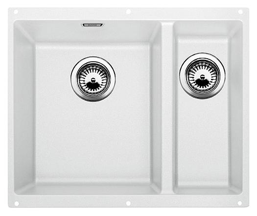 Subline 340/160-U 513790 белая, леваяКухонные мойки<br>Кухонная мойка Blanco Subline 340/160-U 513790, большая чаша слева, маленькая справа. Максимальный объем чаш, благодаря современным технологиям производства и установки. Элегантный и гигиеничный перелив C-overflow®.  Для установки в шкаф шириной от 60 см. Установка под столешницу в один уровень.<br>