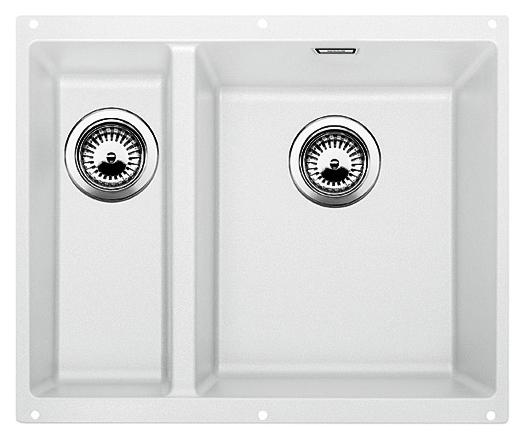 Subline 340/160-U 520406 белая, праваяКухонные мойки<br>Кухонная мойка Blanco Subline 340/160-U 520406, большая чаша справа, маленькая слева. Максимальный объем чаш, благодаря современным технологиям производства и установки. Элегантный и гигиеничный перелив C-overflow®.  Для установки в шкаф шириной от 60 см. Установка под столешницу в один уровень. Цена указана за мойку. Все остальное приобретается дополнительно.<br>