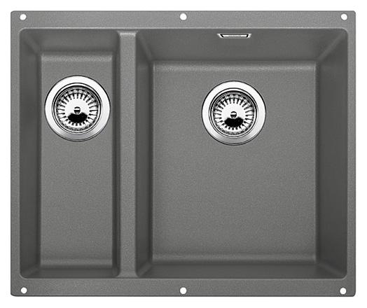 Subline 340/160-U 520404 алюметаллик, праваяКухонные мойки<br>Кухонная мойка Blanco Subline 340/160-U 520404, большая чаша справа, маленькая слева. Максимальный объем чаш, благодаря современным технологиям производства и установки. Элегантный и гигиеничный перелив C-overflow®.  Для установки в шкаф шириной от 60 см. Установка под столешницу в один уровень.<br>