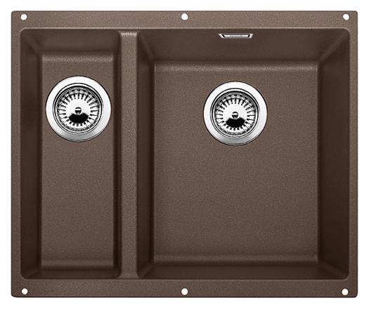 Subline 340/160-U 520410 кофе, праваяКухонные мойки<br>Кухонная мойка Blanco Subline 340/160-U 520410, большая чаша справа, маленькая слева. Максимальный объем чаш, благодаря современным технологиям производства и установки. Элегантный и гигиеничный перелив C-overflow®.  Для установки в шкаф шириной от 60 см. Установка под столешницу в один уровень. Цена указана за мойку. Все остальное приобретается дополнительно.<br>