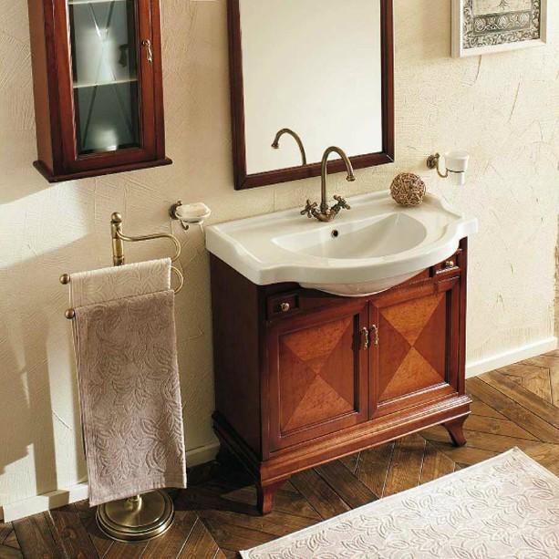 Marriot MPL85 Вишня/БронзаМебель для ванной<br>Напольная база под раковину Labor Legno Marriot с двумя распашными застекленными дверцами и двумя небольшими выдвижными ящиками. Отделка вишня, фурнитура бронза.<br>