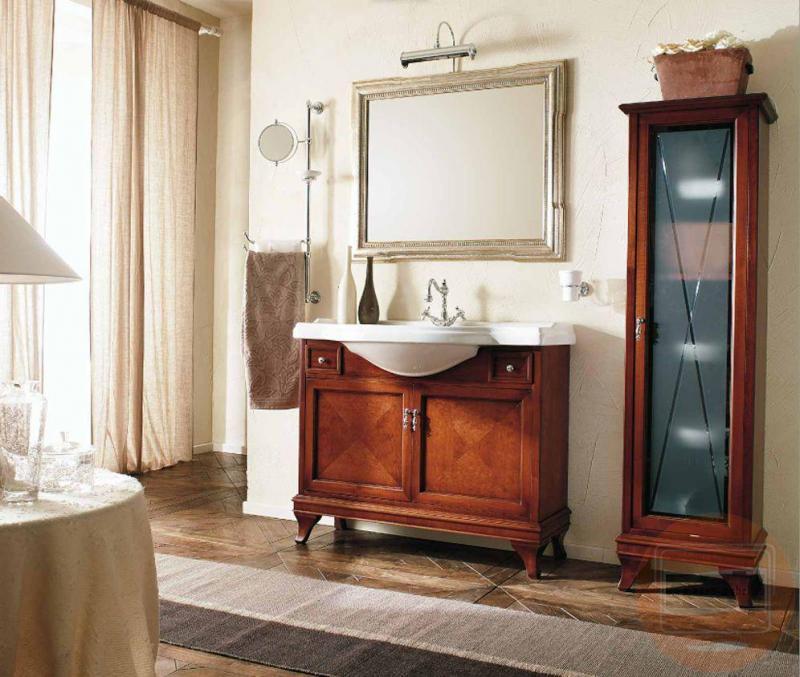 Marriot MPL105 Вишня/БронзаМебель для ванной<br>Тумба под раковину Labor Legno Marriot на ножках с двумя дверцами и двумя небольшими выдвижными ящиками. Цвет вишня, фурнитура бронза.<br>