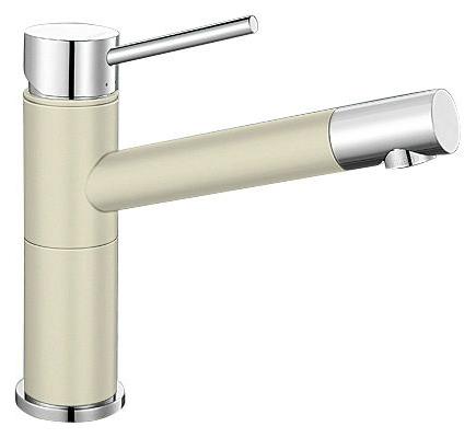 Alta 515318 Хром/ЖасминСмесители<br>Blanko Alta 515318. Однорычажный смеситель для кухни. Сочетает хромированную поверхность и инновационный материал Silgranit, цвет хром/жасмин, рычаг переключения расположен вверху над изливом. Керамический картридж. Гибкая подводка стандарта 3/8.  Допустимая толщина столешницы: 45 мм. Длина излива: 200 мм. Высота излива: 155 мм. Вращение излива на 360 градусов. Стабилизирующая пластина для увеличения устойчивости смесителя.<br>
