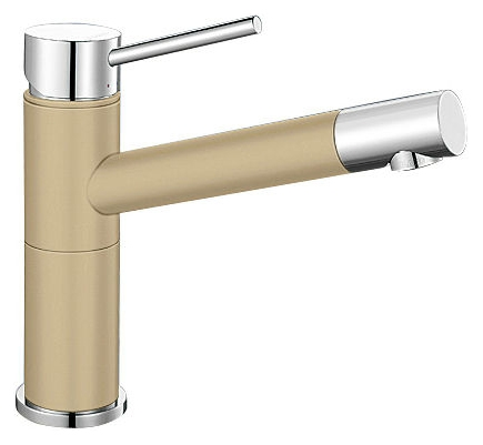 Alta 515319 Хром/ШампаньСмесители<br>Blanko Alta 515319. Однорычажный смеситель для кухни. Сочетает хромированную поверхность и инновационный материал Silgranit, цвет хром/шампань, рычаг переключения расположен вверху над изливом. Керамический картридж. Гибкая подводка стандарта 3/8.  Допустимая толщина столешницы: 45 мм. Длина излива: 200 мм. Высота излива: 155 мм. Вращение излива на 360 градусов. Стабилизирующая пластина для увеличения устойчивости смесителя.<br>