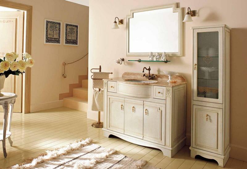 Royal RPL0/110 Белый с патиной/бронзаМебель для ванной<br>Тумба под раковину Labor Legno Royal с тремя распашными дверцами и двумя выдвижными ящиками. Цвет белый с патиной, фурнитура бронза.<br>